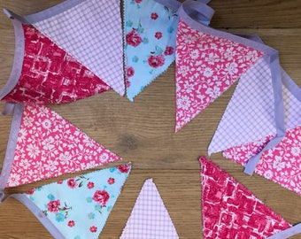 10 flag bunting pinks, lilac, blue 258cm long