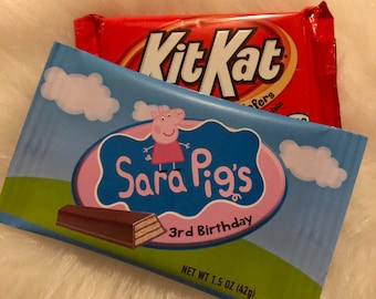 Peppa Pig Custom Candy Bar Wrapper, Peppa Pig Candy Bar Wrapper, Peppa Pig Favors, Custom Candy Bar Wrappers- Printed and Shipped