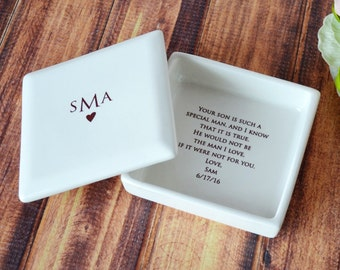 Mother of the Groom Gift, Mother of the Groom Wedding Gift, Mother in Law Gift,  - Monogrammed Square Keepsake Box -  With Gift Box