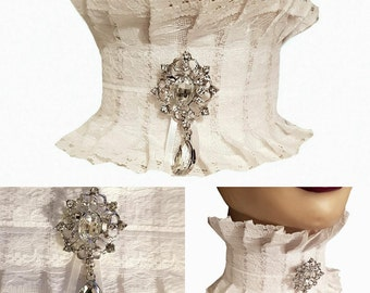 White Lace Neck Corset Collar Choker Silver & Clear Diamonte Detachable Brooch Victorian Steampunk Wedding Regency Burlesque Theatre Z34