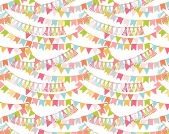 CALLIOPE fabric cotton patchwork Bannerline Pink Garland of multicolored flags on white x 50 cm