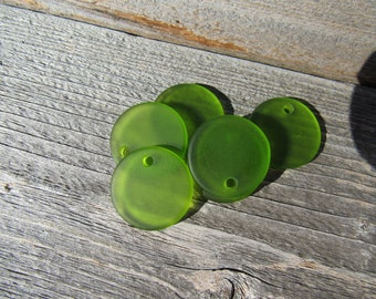 Sea Glass Flat Coin Pendant Earrings  Olive Green 25mm (2)