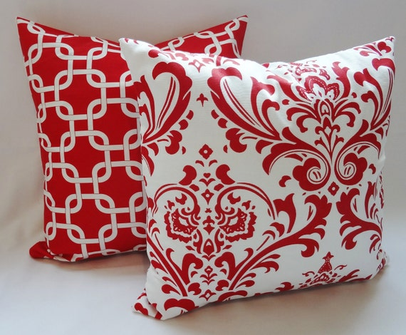 Items Similar To Set Of Two Red & White Pillow Covers Red