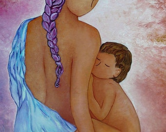 Breastfeeding image.Breastfeeding art.Mother and child.Breastfeeding toddler.Motherhood art.Original painting.Large painting.Nurturing Mama.