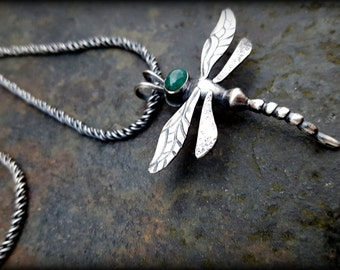 Gemstone Dragonfly Necklace, Sterling Dragonfly Necklace, Tourmaline Dragonfly, Large Silver Dragonfly Necklace with Cabochon of your Choice