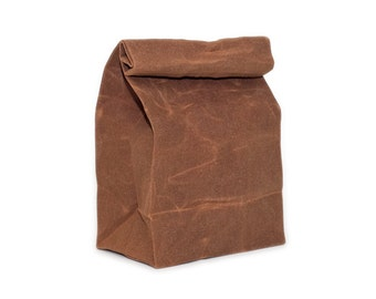 Lunch Bag in Brown // Brown Bag // Waxed Canvas Lunch Bag // Lunch Bags // Canvas Lunch Bag