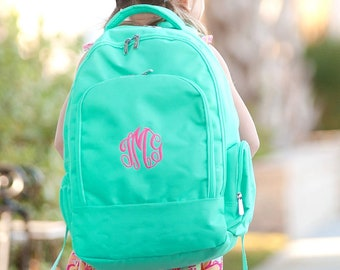 Mint Monogrammed Backpack, Monogram Book Bag, Back to School