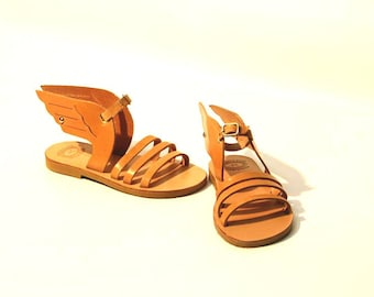 Girls Hermes Sandals, Kids Winged Leather Sandals, Baby Winged Sandals