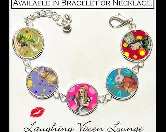Alice In Wonderland Bracelet - Alice In Wonderland Jewelry - Alice In Wonderland Necklace - Mad Hatter - White Rabbit - Alice Pop Art