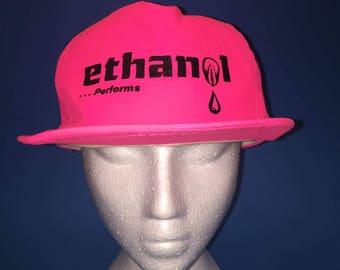 Vintage Ethanol Alcohol Fuel Trucker Snapback Hat 1980s Neon Pink
