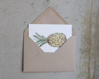 Summer print - Fruit watercolor illustration sketch Pineapple - Papaya postcard - recycled envelope brown paper