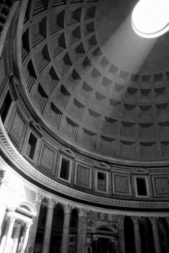 Roman holiday alleluja black and white rome pantheon photo print historical landmark classical architecture photography oculus saintly
