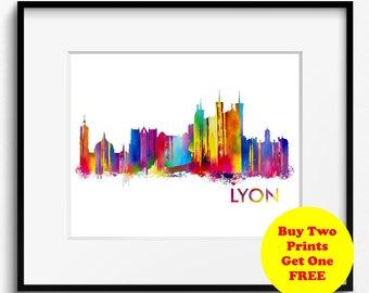 Lyon Skyline Watercolor Art Print (308) Cityscape France