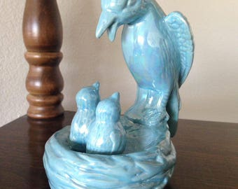 "Vintage Bird Figurine Home Decor, 5.5"" tall, Blue Bird Statue"