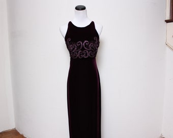 Vtg 90s NWT Maroon Purple Sequin Glitter Crop Prom Dress S