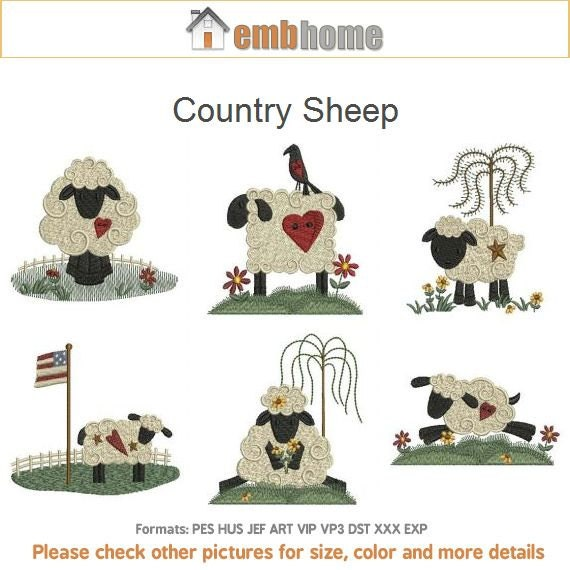 Country Sheep Machine Embroidery Designs Instant Download 4x4