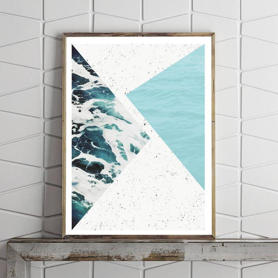 ABSTRACT OCEAN // poster, Abstract art, 12x18, minimalist art print, geometric print, mid century, Scandinavian style, sea, blue, triangles