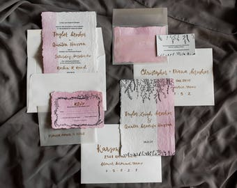 Blush Hand Lettered Wedding Invitation Suite | Custom Invitation | Floral Wedding Invitation Suite | Modern Romantic Wedding Invitations