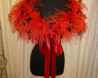 Luxury Red with Black Ostrich Feather Bridal Wedding Wrap Stole,Shrug,Cape.Christmas Wedding