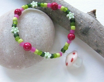 Colorful pink and Green Girls Bracelet with Flowers and Mushroom Charm, Medium Girls Bracelet, GB 163 M, Stretch with mushroom pendant