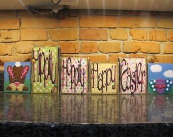 Easter Sign, Easter Decor, Spring Decor, Hippity Hoppity Happy Easter, Rabbit Sign