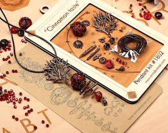 Pendant jewelry making diy kit - Lampwork glass bead - Bronze jewelry 1802 Kit. Designed and made by Anna Bronze