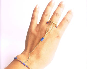 Hand bar, macrame and Royal Blue Pearl Jewelry