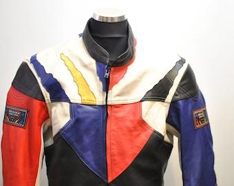 Vintage MOTORCYCLE LEATHER JACKET , men's biker jacket.............(678)