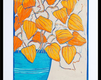 linocut, chinese lanterns, Physalis alkekengi , flower print, orange flowers, blue vase, printmaking, bright colors, floral print, orange