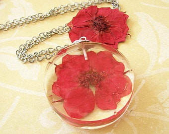Pressed Flower Necklace Resin Jewelry Resin Necklace Real Flower Necklace Red Rose Necklace Gift For Her