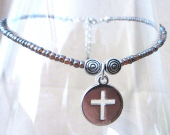 Glass Seed Bead Anklet w/Silver Medallion Cross Cut Charm, Plus Size Anklet Seed Bead Ankle Bracelet Handmade Beaded Christian Cross Jewelry