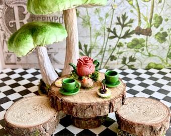 Fairy tea party table, miniature fairy table and chairs, fairy garden table