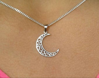 Moon Necklace, Moon Pendant, Solid Sterling Silver Moon and Hearts Necklace, Crescent Moon Pendant