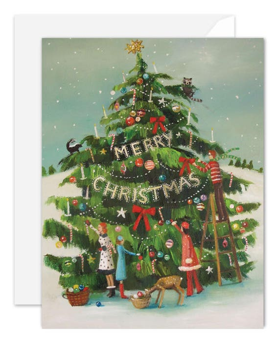The Peppermint Family Trim The Tree. BOX SET of 8 Cards. One Design.