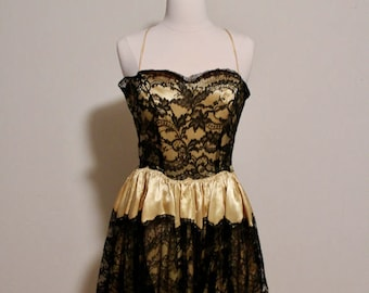 Vintage 1950s RARE Liquid Silk Emma Domb Evening Gown with Black Lace