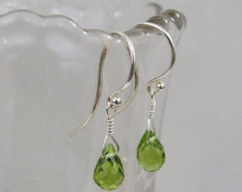 Peridot Earrings in Sterling Silver, Dangle Earrings, Birthstone Gift, Peridot Gemstone, Green Drop Earrings, August Birthstone Jewelry