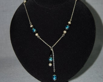 Silver Y necklace with blue and black beads ~ Vintage