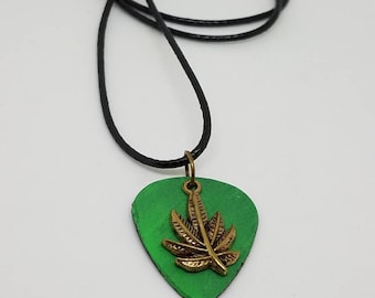 Guitar Pick Necklace - Made from a Vinyl Record- Marijuana leaf