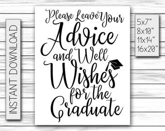 Graduation Gift For Her - Please Leave Your Advice And Well Wishes For The Graduate - High School Graduate Sign - Printable DIGITAL FILE JPG