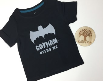 CLEARANCE: Boy's Printed T-Shirt 'Gotham Needs Me' - Size 0-4