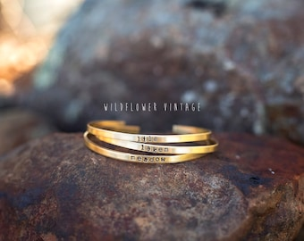 Skinny Personalized Stacking Cuff Bracelet | Name Jewelry Mother's Day Baby Shower Gifts for New Mom Bridesmaid Gift Brass Copper Silver
