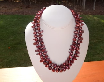 Cranberry Pearl Double Strand Necklace
