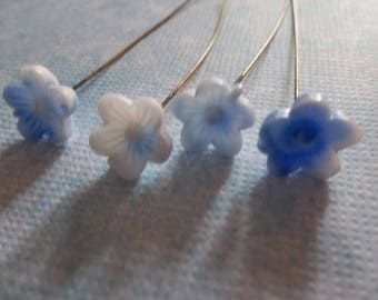 Vintage Glass Flower Head Pins - 24 gauge - 3 inch HeadPins - 78mm long - 10mm Blue & White Flowers - Made in Japan - Qty 6 *NEW ITEM*