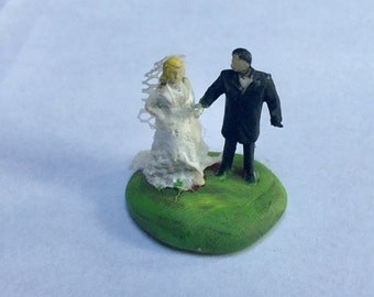 Reserved Bride and groom with navy blue suit HO Scale Altered Hand Painted Train  Figures Perfect for Planter or Terrarium
