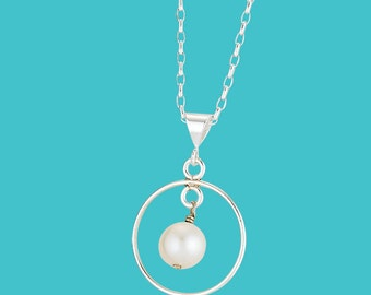 Encircled Pearl Drop Necklace