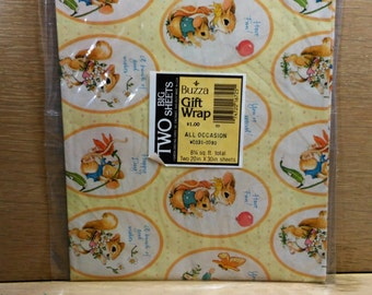 "All Occasion Gift Wrap by Buzza/Rabbit and Mouse With Cute Sayings/2 Sheets 30"" by 20""/New (C)"