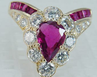 Vintage Ruby Ring, Gold Ring, Diamond Ring, Red Ruby Gemstones, Yellow Gold, Earth Mined Rubies and Diamonds, 1930's