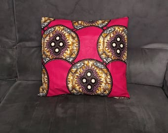 Cover for pillow 40/40 cotton African Wax print hot pink yellow