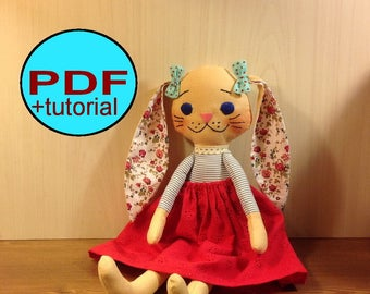 Bunny doll PDF sewing pattern softie pattern woodland doll pattern bunny pattern bunny sewing pattern rabbit rag doll cloth doll pattern