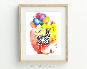 Zebra nursery art, children's art print, kids art, safari nursery wall art, zebra nursery print, safari nursery decor, zebra baby shower.